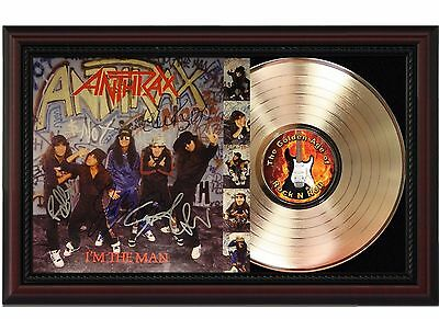 Anthrax - 24k Gold LP Record With Reprint Autographs In Cherry Wood Frame