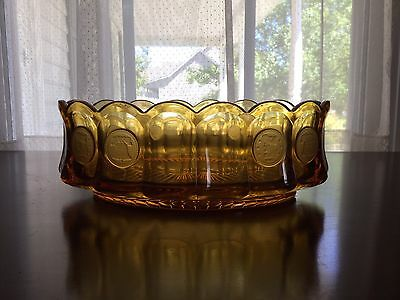Beautiful Fostoria Amber Coin Glass Oval Serving Bowl In Perfect Condition