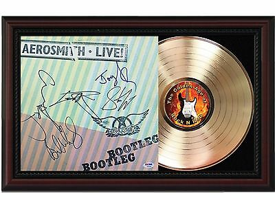 Aerosmith Live 24k Gold LP Record With Reprint Autographs In Cherry Wood Frame