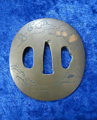OLD Japanese COPPER TSUBA Floral Pattern