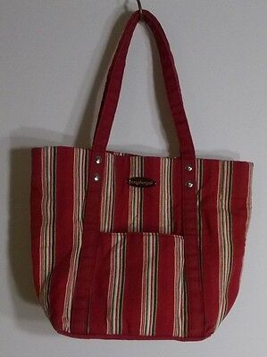 Longaberger Red Striped Small Tote ~ 100% Cotton ~ Great Condition!