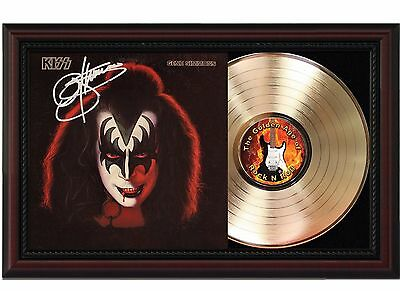 Gene Simmons - Kiss - 24k Gold LP Record With Reprint Autographs In Wood Frame