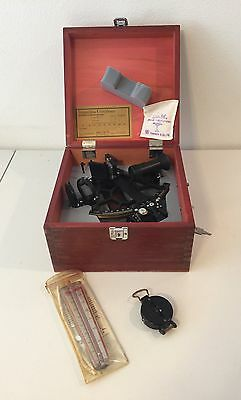 Tamaya Vintage Micrometer Marine Sextant In Wooden Case With Wind Meter/compass