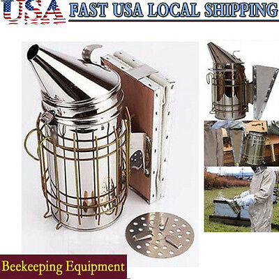 Bee Hive Smoker Stainless Steel Beekeeping Equipment Tool w/ Heat Shield Supply