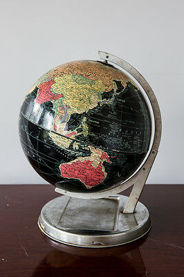Vintage Original Rare REPLOGLE BLACK OCEAN Map Globe with Chrome Stand 1940s