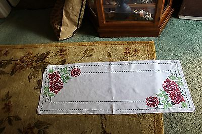 """vintage hand embroidered table runner - 16 x 41"""""""