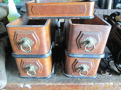 5 Drawers from Domestic Treadle Sewing Machine w/ Hardware - VGC