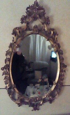 Large Gilded Elaborate Mirror with beveled glass