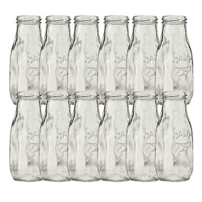 12pc Avanti Glass Milk Bottle 325ml Set/Milkshake/Juice/Smoothie/Kids/Party