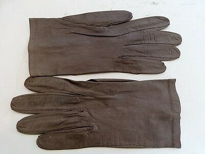 Gray Wrist Length Kid Leather Gloves Size 7.5 Made in France