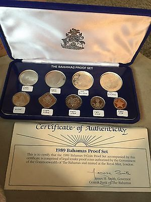 Bahamas 1989 Columbus Proof Set of 9 Coins,With 2 Silver Coins, In Box