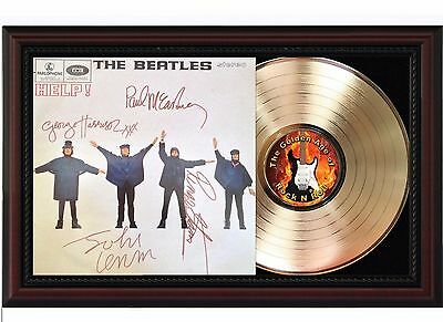 Beatles Help - 24k Gold LP Record With Reprint Autographs In Cherry Wood Frame
