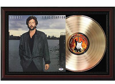 Eric Clapton August - 24k Gold LP Record With Reprint Autographs In Wood Frame