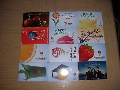 Jamba Juice  12 different new collectible gift cards