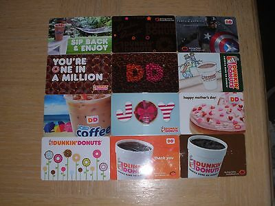 Dunkin' Donuts  12 different new collectible gift cards