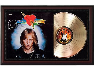 Tom Petty Heartbreakers 24k Gold LP Record With Reprint Autograph In Wood Frame