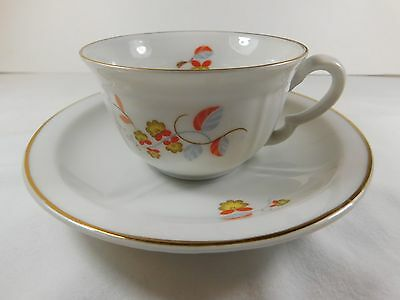 Bavaria Crown cup and saucer with gold trim German