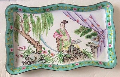 "Antique Chinese Enamelware Rose Canton Tray Landscape 12"" x 7.5"""