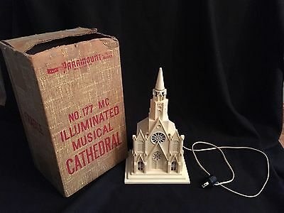 "Vintage Raylite Paramount Musical Illuminated Church Music box ""Silent Night"""