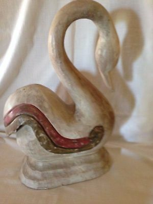 Large Swan Statue, Made out of Resin, to Look Like Wood,  20 In.