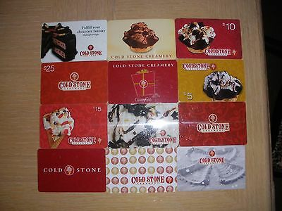 Cold Stone Creamery  12 different new collectible gift cards