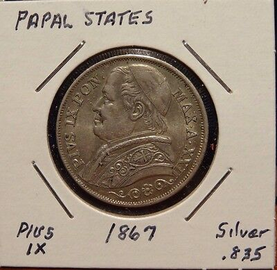 1867 PAPAL STATES coin 2 LIRE