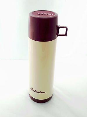 "Tim Horton's Thermos Vintage Glass Inner Liner Cream Red Logo 13.5 "" Tall"