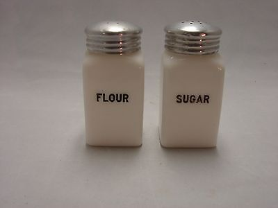 Vintage Hazel Atlas Milk Glass Sugar & Flour Shakers