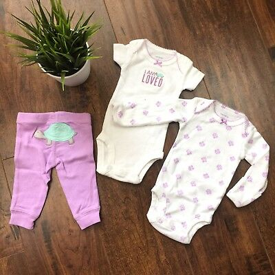 Carters Baby Girl Bodysuit and Pant Outfit 3 PC Set Size NB Turtle Floral Print