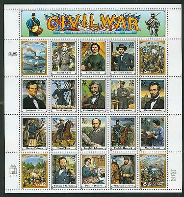 US Stamps COMPLETE SHEET #2975a-t   Civil War issue MNH
