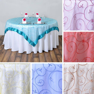 "36 Wholesale LOT Embroidered Organza 85x85"" SQUARE Large Table OVERLAYS SALE"