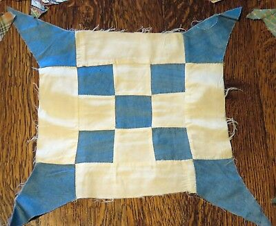 Lot 30 Vintage Feedsack Quilt Squares Stars Completed Unknown Design Hand Sewn