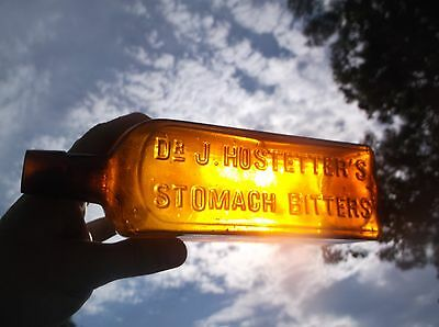 Nice Yellow Amber Hostetters Stomach Bitters Medicine Bottle Vintage Antique