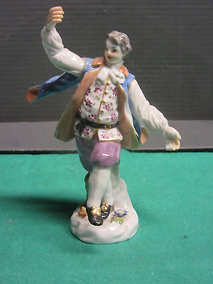 Antique Meissen figurine of a boy dancing in bright costume mid 20th century mis