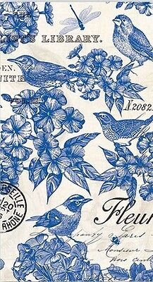 TWO (2) Paper Hostess Napkins for Paper Crafts, White and Blue Birds, Floral