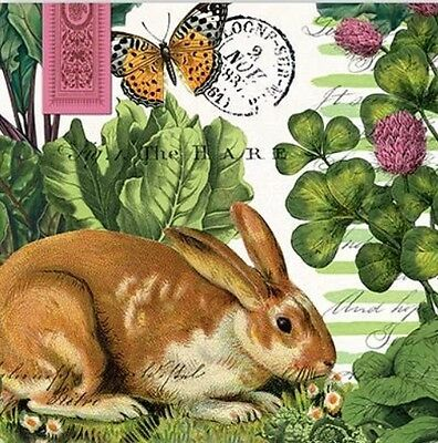 TWO (2) Garden Bunny, Cocktail Napkins for Decoupage and Paper Crafts
