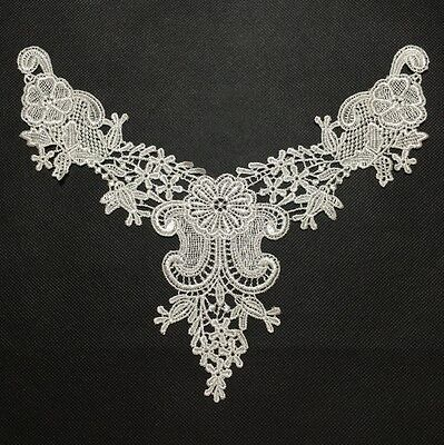 Light Ivory Embroidered Lace Collar Venise Trim Neckline Applique Sewing New