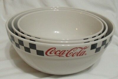 "2002 COCA-COLA GIBSON SET OF 3 NESTING Mixing Bowls 8 1/2"" 9 1/2"" 10 1/2"""