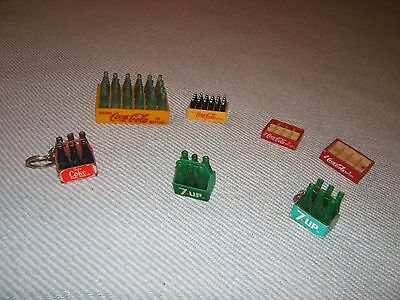 Vintage Lot Of Coke & 7-Up Miniature Bottles And Cases