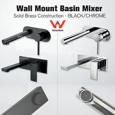 Black/Chrome Wall Mount Basin Mixer Tap Spout Single Lever Laundry Bathroom Wels