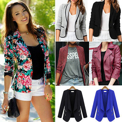 Womens Casual Suit Blazer Business OL Ladies Slim Fit Lapel Jacket Coat Outwear