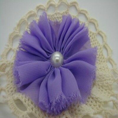 Lilac Chiffon Flower with Pearl Centre x 1 RNB