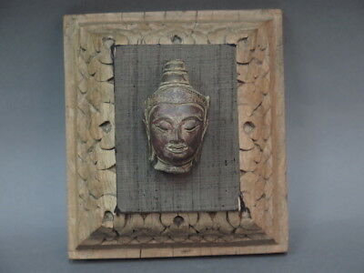 Antique 19th C. Bronze Thai Buddha Head Mounted on Hand Carved Wood Wall Decor