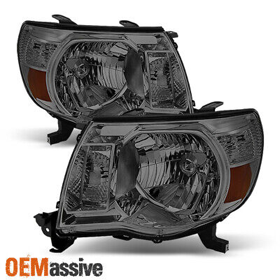 Fits Smoked 05-11 Toyota Tacoma Crystal Headlights Lamps Lights Left+Right Pair