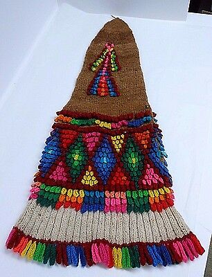 Vintage Peruvian Andean Knitted Primative Chullo Tall Stocking Knit Cap 1970's