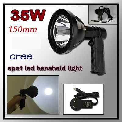 "35W 5"" LED Handheld Light Camping Spotlight Hunting Fishing Offroad RECHARGEABLE"