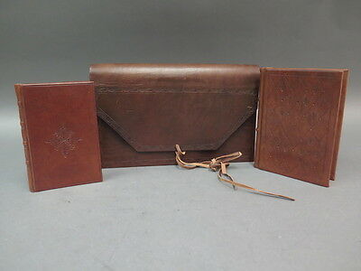 Set (3) Parione Firenze Italian Brown Leather File Organizer & Address Books