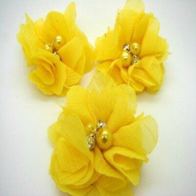 Yellow Chiffon Flower with Bead Centre x 2 RNB