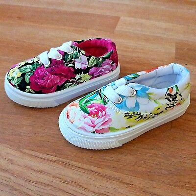 Baby toddler girls lace up canvas tennis shoes white pink color 4-9