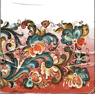 Paper Napkins: Norwegian Rosemaling by Suzanne Toftey Package of 20